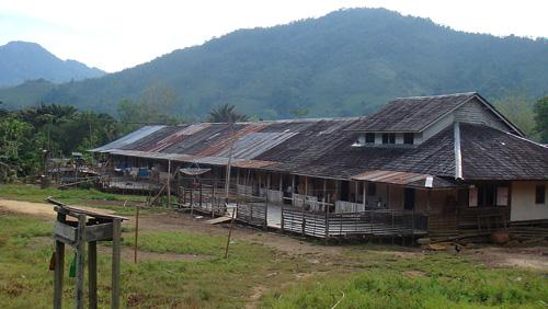 Langhaus Kampung Sawa im Juni 2009
