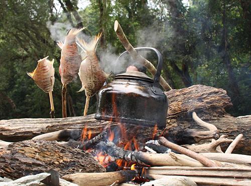 Fische und Kaffeewasser überm Feuer.
