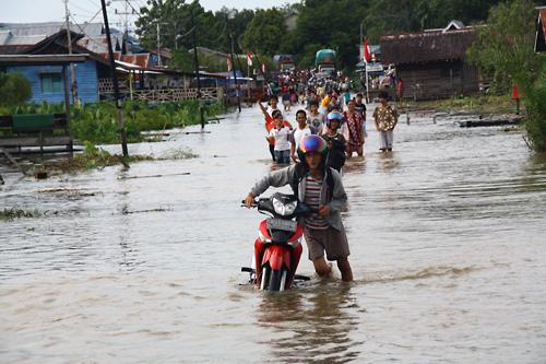 Hochwasser auf der Hauptstrasse Putussibau/Kedamin. Vielen Mopets sind beim Versuch durch die Fluten zu kommen die Vergaser (schaetze ich mal) voll Wasser gelaufen.