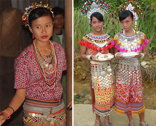 Tracht der Dayak Desa (links) und Dayak Iban (rechts)