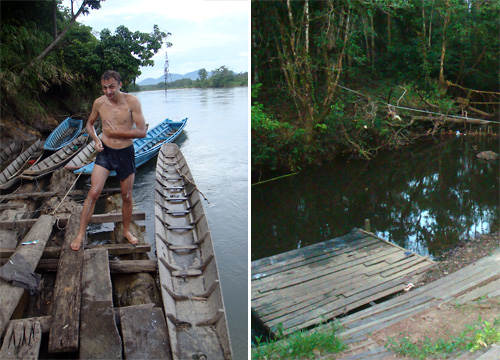 Mandi am Fluss Embaloh   Badestelle im Dorf Tajum
